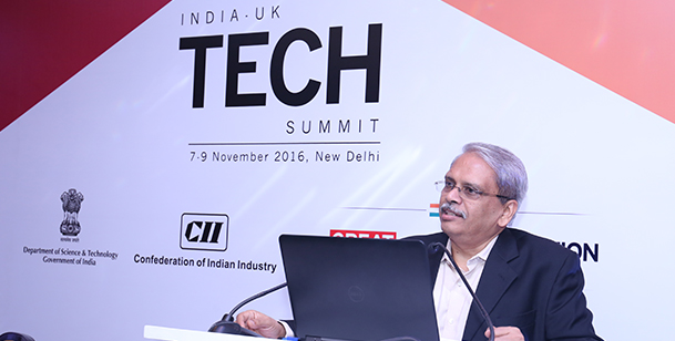 Mr. Kris Gopalakrishnan, Board Member GITA and  Co-founder, Infosys speaking at India UK TECH Summit.